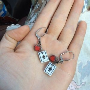 Queen of Hearts Playing Card Earrings